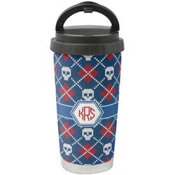 Knitted Argyle & Skulls Stainless Steel Travel Mug (Personalized)