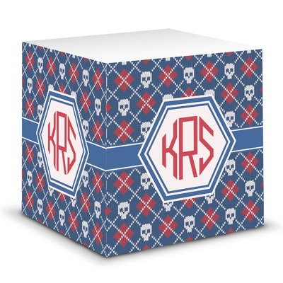 Knitted Argyle & Skulls Sticky Note Cube (Personalized)