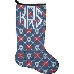 Knitted Argyle & Skulls Holiday Stocking - Neoprene (Personalized)