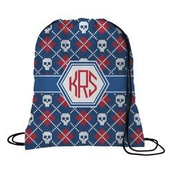 Knitted Argyle & Skulls Drawstring Backpack (Personalized)