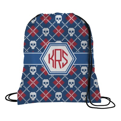 Knitted Argyle & Skulls Drawstring Backpack (Personalized)