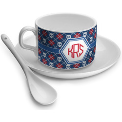 Knitted Argyle & Skulls Tea Cup - Single (Personalized)