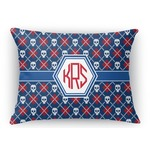 Knitted Argyle & Skulls Rectangular Throw Pillow Case (Personalized)