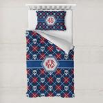 Knitted Argyle & Skulls Toddler Bedding w/ Monogram