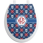 Knitted Argyle & Skulls Toilet Seat Decal (Personalized)