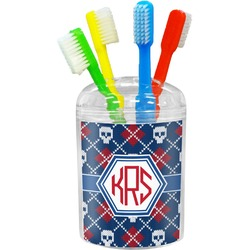 Knitted Argyle & Skulls Toothbrush Holder (Personalized)