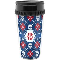 Knitted Argyle & Skulls Travel Mug (Personalized)