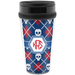 Knitted Argyle & Skulls Travel Mug (Personalized)
