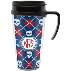 Knitted Argyle & Skulls Travel Mug with Handle (Personalized)