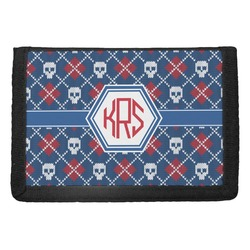 Knitted Argyle & Skulls Trifold Wallet (Personalized)