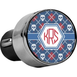 Knitted Argyle & Skulls USB Car Charger (Personalized)