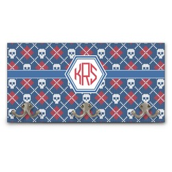 Knitted Argyle & Skulls Wall Mounted Coat Rack (Personalized)