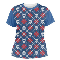 Knitted Argyle & Skulls Women's Crew T-Shirt (Personalized)