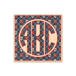 Knitted Argyle & Skulls Genuine Maple or Cherry Wood Sticker (Personalized)