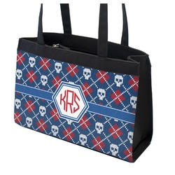 Knitted Argyle & Skulls Zippered Everyday Tote (Personalized)