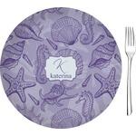 "Sea Shells Glass Appetizer / Dessert Plates 8"" - Single or Set (Personalized)"