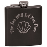 Sea Shells Black Flask (Personalized)