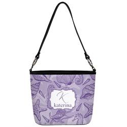 Sea Shells Bucket Bag w/ Genuine Leather Trim (Personalized)