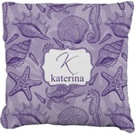 Sea Shells Faux-Linen Throw Pillow (Personalized)