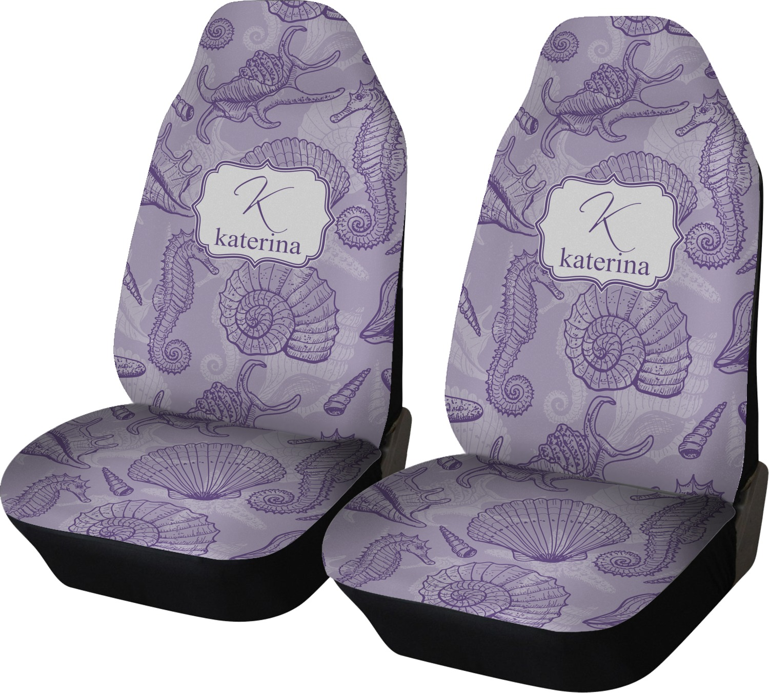 Sea Shells Car Seat Covers Set Of Two Personalized