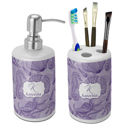 Sea Shells Ceramic Bathroom Accessories Set (Personalized)