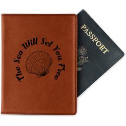 Sea Shells Leatherette Passport Holder - Single Sided (Personalized)