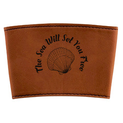Sea Shells Leatherette Cup Sleeve (Personalized)