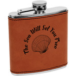 Sea Shells Leatherette Wrapped Stainless Steel Flask (Personalized)