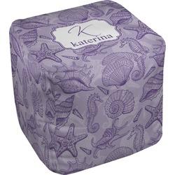 Sea Shells Cube Pouf Ottoman (Personalized)