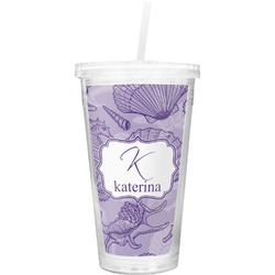 Sea Shells Double Wall Tumbler with Straw (Personalized)
