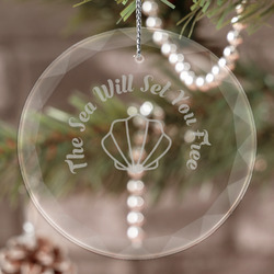 Sea Shells Engraved Glass Ornament (Personalized)