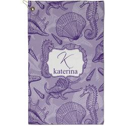 Sea Shells Golf Towel - Full Print - Small w/ Name and Initial