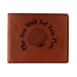 Sea Shells Leatherette Bifold Wallet (Personalized)