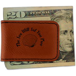 Sea Shells Leatherette Magnetic Money Clip (Personalized)