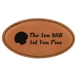 Sea Shells Leatherette Oval Name Badge with Magnet (Personalized)