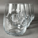 Sea Shells Stemless Wine Glasses (Set of 4) (Personalized)