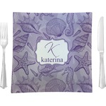 """Sea Shells Glass Square Lunch / Dinner Plate 9.5"""" - Single or Set of 4 (Personalized)"""