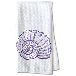 Sea Shells Waffle Weave Kitchen Towel - Partial Print (Personalized)