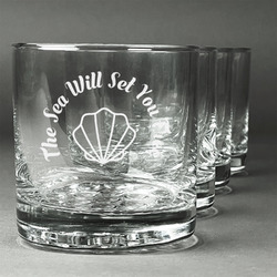 Sea Shells Whiskey Glasses (Set of 4) (Personalized)