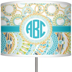 "Teal Circles & Stripes 13"" Drum Lamp Shade Polyester (Personalized)"