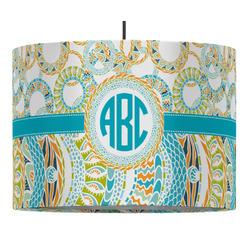 Teal Circles & Stripes Drum Pendant Lamp (Personalized)