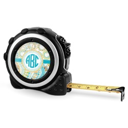 Teal Circles & Stripes Tape Measure - 16 Ft (Personalized)
