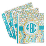 Teal Circles & Stripes 3-Ring Binder (Personalized)