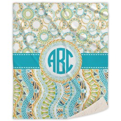 Teal Circles & Stripes Sherpa Throw Blanket (Personalized)