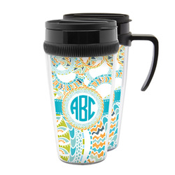 Teal Circles & Stripes Acrylic Travel Mugs (Personalized)