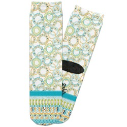 Teal Circles & Stripes Adult Crew Socks (Personalized)