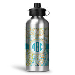 Teal Circles & Stripes Water Bottle - Aluminum - 20 oz (Personalized)