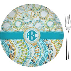 """Teal Circles & Stripes Glass Appetizer / Dessert Plates 8"""" - Single or Set (Personalized)"""