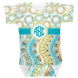 Teal Circles & Stripes Baby Bodysuit (Personalized)
