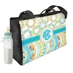 Teal Circles & Stripes Diaper Bag (Personalized)